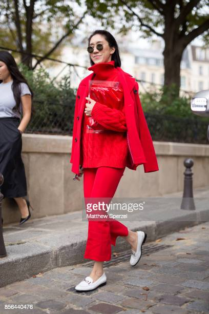 Eva Chen is seen attending Givenchy during Paris Fashion Week wearing Givenchy on October 1, 2017 in Paris, France.
