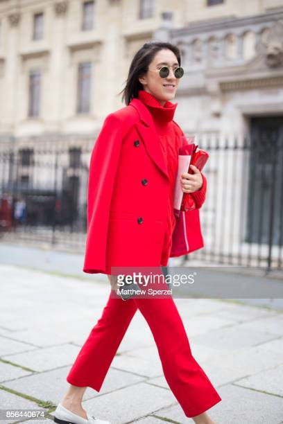 Eva Chen is seen attending Givenchy during Paris Fashion Week wearing Givenchy on October 1 2017 in Paris France