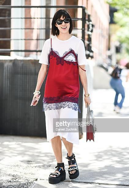 Eva Chen is seen outside the Rodarte show during New York Fashion Week Spring 2017 on September 13 2016 in New York City