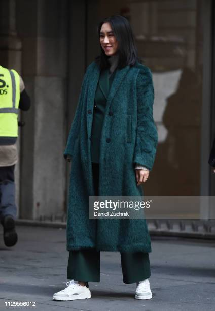 Eva Chen is seen wearing a green fur coat outside the Michael Kors show during New York Fashion Week Fall/Winter 2019 on February 13 2019 in New York...
