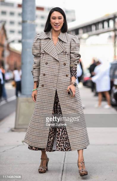 Eva Chen is seen wearing a plaid coat outside the Michael Kors show during New York Fashion Week S/S20 on September 11, 2019 in New York City.