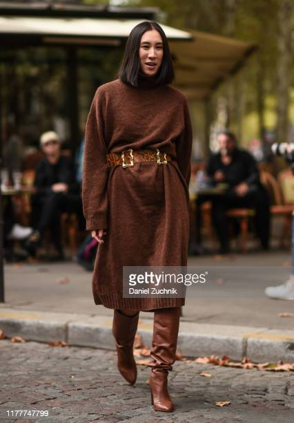 Eva Chen is seen wearing a Rejina Pyo dress and belt and Frame boots outside the Altuzarra show during Paris Fashion Week SS20 on September 28 2019...