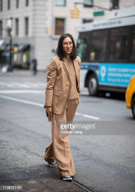 Eva Chen is seen wearing beige pants jacket with fringes outside Ralph Lauren during New York Fashion Week Autumn Winter 2019 on February 07 2019 in...