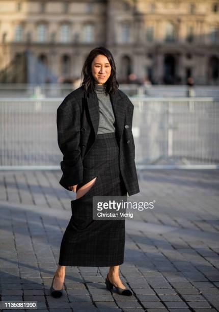 Eva Chen is seen wearing black skirt with slit, blazer jacket outside Louis Vuitton during Paris Fashion Week Womenswear Fall/Winter 2019/2020 on...