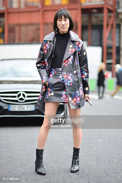 Eva Chen poses wearing Tanya Taylor before the Stella McCartney show at the Opera Garnier during Paris Fashion Week FW 16/17 on March 7 2016 in Paris...