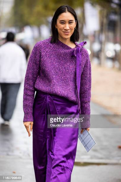 Eva Chen wearing a purple sweater and purple skirt is seen outside the Chanel show during Paris Fashion Week Womenswear Spring Summer 2020 on October...