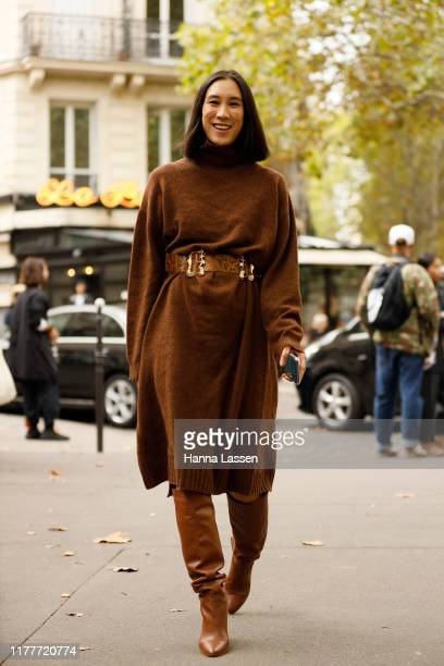 Eva Chen wearing brown knit dress outside the Altuzarra show during Womenswear Spring/Summer 2020 show Paris Fashion Week on September 28 2019 in...