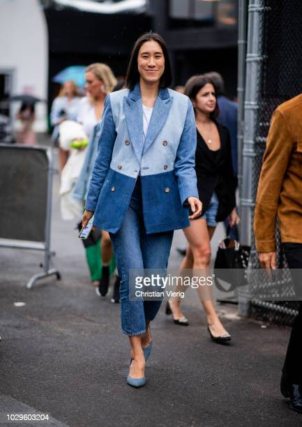 Eva Chen wearing denim jeans and blazer seen outside Brandon Maxwell during New York Fashion Week Spring/Summer 2019 on September 8 2018 in New York...