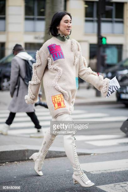 Eva Chen wearing knit laced overknee boots is seen outside Miu Miu during Paris Fashion Week Womenswear Fall/Winter 2018/2019 on March 6 2018 in...