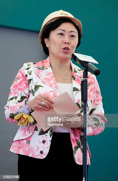 Eva Cheng Hong Kong's secretary for transport and housing speaks during a preview of Cathay Pacific Airways Ltd's new cargo terminal under...