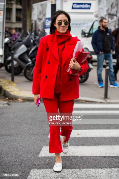 Eva Cheng is seen before the Celine show during Paris Fashion Week Womenswear SS18 on October 1 2017 in Paris France