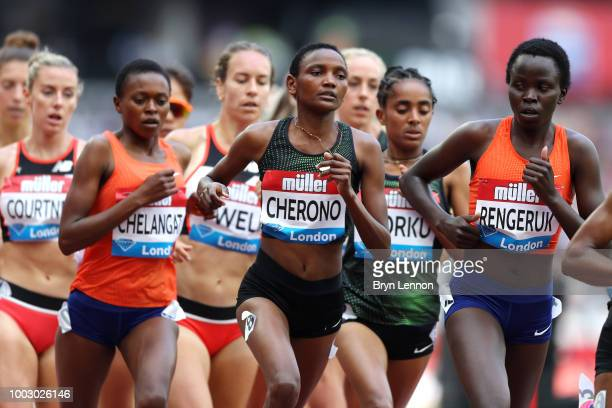 Eva Cherono of Kenya competes in the Women's 3000m during Day One of the Muller Anniversary Games at London Stadium on July 21 2018 in London England