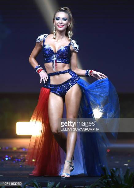 Eva Colas Miss France 2018 walks on stage during the 2018 Miss Universe national costume presentation in Chonburi province on December 10 2018
