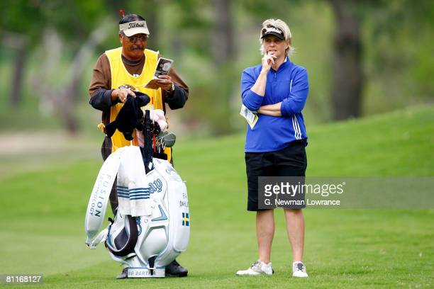 Eva Dahllof of Sweden stands with her caddie during the first round of the SemGroup Championship presented by John Q Hammons on May 1 2008 at Cedar...