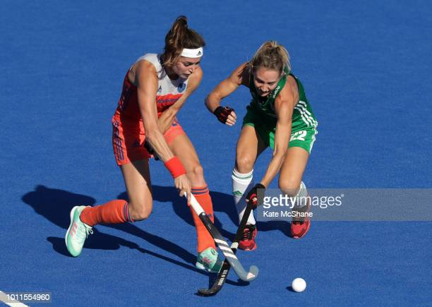 Eva De Goede of Netherlands and Nicola Daly of Ireland battle for the ball during the FIH Womens Hockey World Cup Final between Netherlands and...