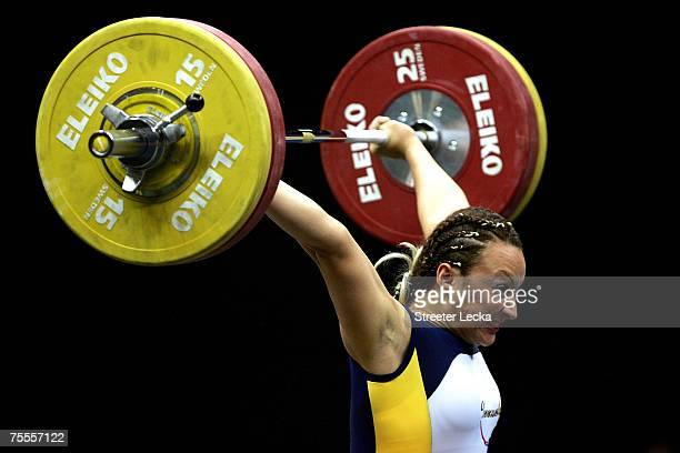 Eva Dimas of El Salvador competes in the women's 75kg weightlifting during the XV Pan American Games at Riocentro on July 17, 2007 in Rio de Janeiro,...