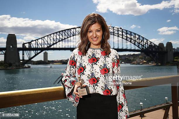 Eva Galambos of Parlour X poses after being awarded for The Best Australian Retailer Laureate at the Australian Fashion Laureate Awards on October 19...