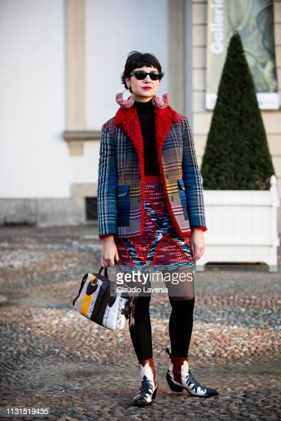 Eva Geraldine Fontanelli is seen outside Tod's on Day 3 Milan Fashion Week Autumn/Winter 2019/20 on February 22 2019 in Milan Italy