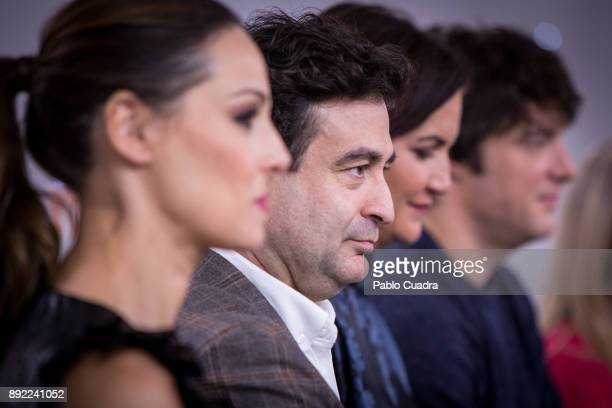 Eva Gonzalez Pepe Rodriguez Rey Samantha VallejoNagera and Jordi Cruz attend the presentation of a new seson of 'Masterchef Junior' at TVE studios on...