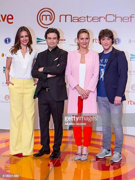 Eva Gonzalez Pepe Rodriguez Samantha VallejoNagera and Jordi Cruz attend 'Masterchef' Season 4 Presentation on March 31 2016 in Madrid Spain