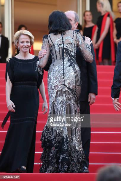 Eva Green is welcomed by Frederique Bredin and Pierre Lescure as she attend the Based On A True Story premiere during the 70th annual Cannes Film...