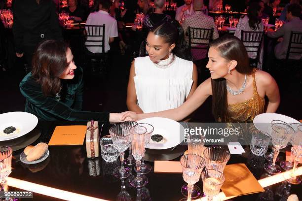 Eva Green Laura Harrier and Bella Hadid attend BVLGARI Dinner Party at Stadio dei Marmi on June 28 2018 in Rome Italy