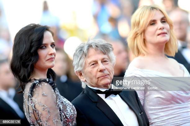 Eva Green Roman Polanski and Emmanuelle Seigner attend the 'Based On A True Story' premiere during the 70th annual Cannes Film Festival at Palais des...