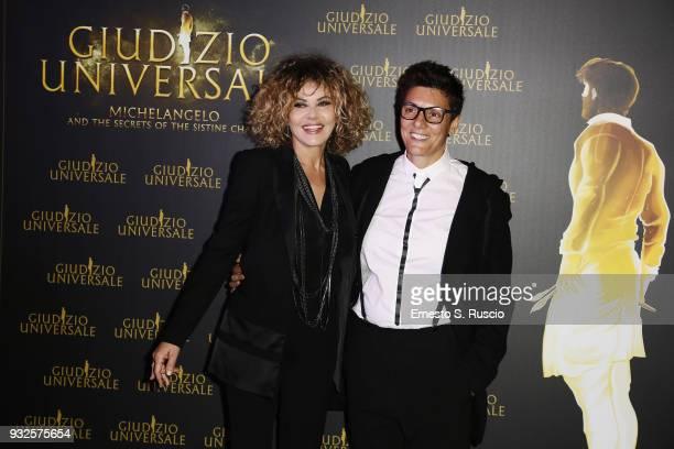 Eva Grimaldi and Imma Battaglia attend 'Giudizio Universale' premiere at Auditorium Conciliazione on March 15 2018 in Rome Italy