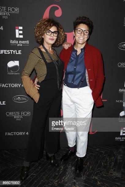 Eva Grimaldi and Imma Battaglia attend 'When Fashion Meets Brilliance' at Teatro Off/Off on December 18 2017 in Rome Italy