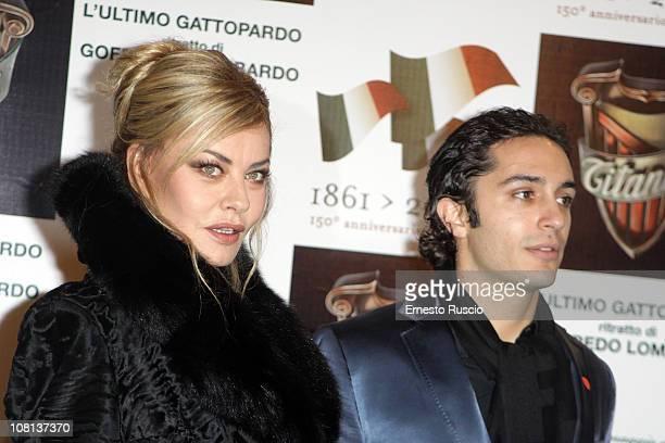 Eva Grimaldi and Simone Veltroni attend the L'Ultimo Gattopardo premiere at Auditorium Della Conciliazione on January 18 2011 in Rome Italy