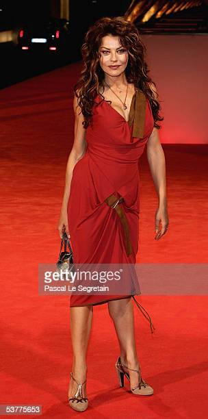 Eva Grimaldi arrives at the premiere of out of competition film The Fine Art of Love Mine Ha Ha at the Palazzo del Casino on the first day of the...