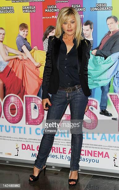 Eva Grimaldi attends the Good As You premiere at Cinema Fiamma on April 5 2012 in Rome Italy