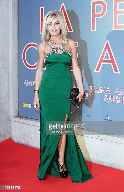 Eva Grimaldi attends the The Skin I Live premiere at Embassy Cinema on September 20 2011 in Rome Italy