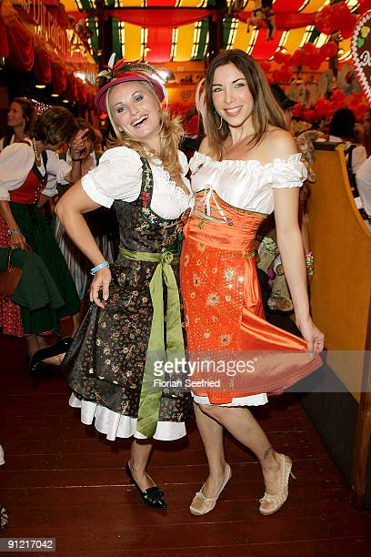 Eva Gruenbauer and Alexandra Polzin attend 'Regines Damenwiesn' at Hippodrom at the Theresienwiese on September 28 2009 in Munich Germany Oktoberfest...