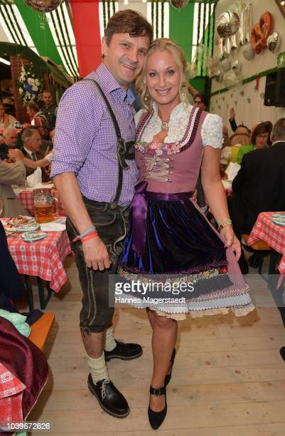 Natalie Schmid and actor Francis Fulton Smith during the BMW Armbrustschiessen as part of the Oktoberfest 2018 at ArmbrustSchuetzenfesthalle at...