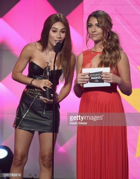 Eva Gutowski and Andrea Russett speak onstage during The 8th Annual Streamy Awards at The Beverly Hilton Hotel on October 22 2018 in Beverly Hills...