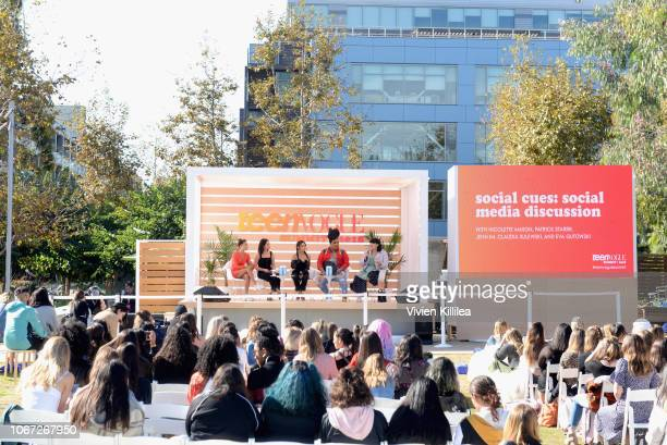Eva Gutowski Claudia Sulewski Jenn Im Patrick Starrr and Nicolette Mason speak onstage during the Social Cues Social Media Discussion keynote at The...