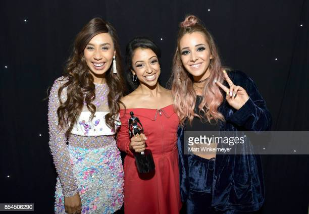 Eva Gutowski Liza Koshy and Jenna Marbles at the 2017 Streamy Awards at The Beverly Hilton Hotel on September 26 2017 in Beverly Hills California