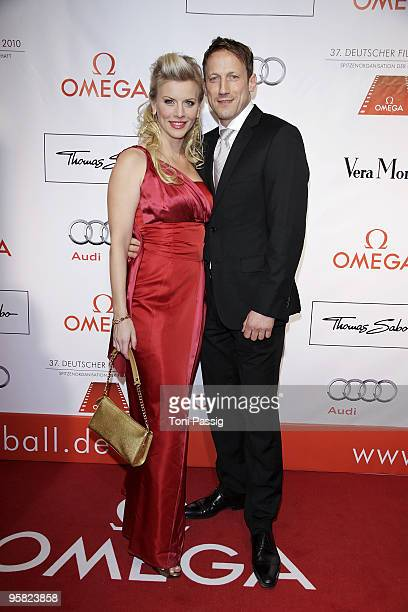 Eva Habermann and actor Wotan Wilke Moehring attend the 37 th German Filmball 2010 at the hotel Bayrischer Hof on January 16 2010 in Munich Germany