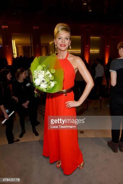 Eva Habermann attends 12th Deutscher Hoerfilmpreis at the Atrium Deutsche Bank on March 18 2014 in Berlin Germany