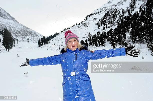Eva Habermann attends the 3 Tirol Cross Mountain in Kuehtai Austria