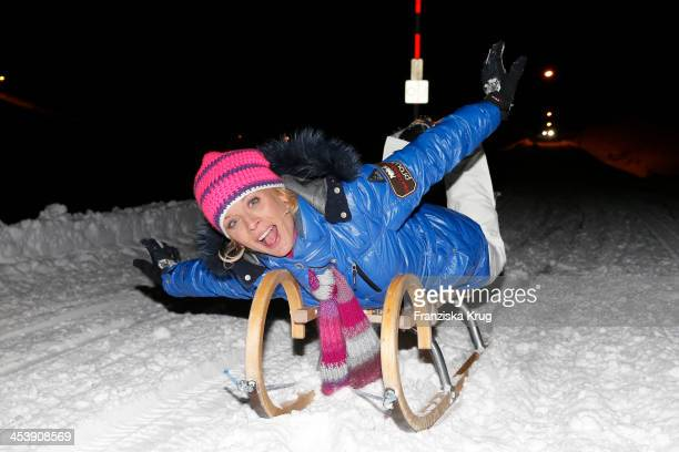 Eva Habermann attends the Snowshoe Hiking And Slide Tour Tirol Cross Mountain 2013 on December 05 2013 in Innsbruck Austria