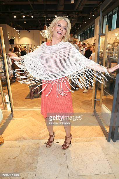 Eva Habermann wearing a dress by Triangle during the TRIANGLE store opening at Riem Arcaden on August 3 2016 in Munich Germany