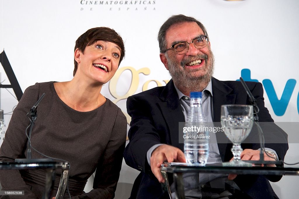 Eva Hache and President of Spanish Cinema Academy Enrique Gonzalez Macho attend the 'Goya Film Awards 2013' press conference on December 19, 2012 in Madrid, Spain.