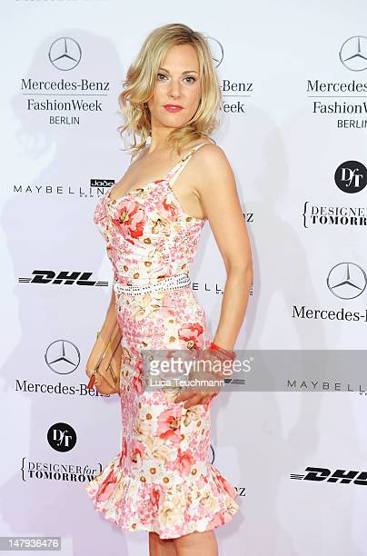 Eva Hassmann arrives for the Kilian Kerner show during the Mercedes-Benz Fashion Week Spring/Summer 2013 on July 6, 2012 in Berlin, Germany.