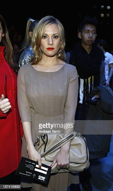 Eva Hassmann attends the Kilian Kerner Autumn/Winter 2012 fashion show during MercedesBenz Fashion Week Berlin at Brandenburg Gate on January 20 2012...