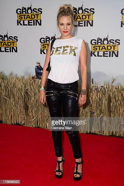 Eva Hassmann attends the premiere of 'Grossstadtklein' at Kino in der Kulturbrauerei on August 6, 2013 in Berlin, Germany.