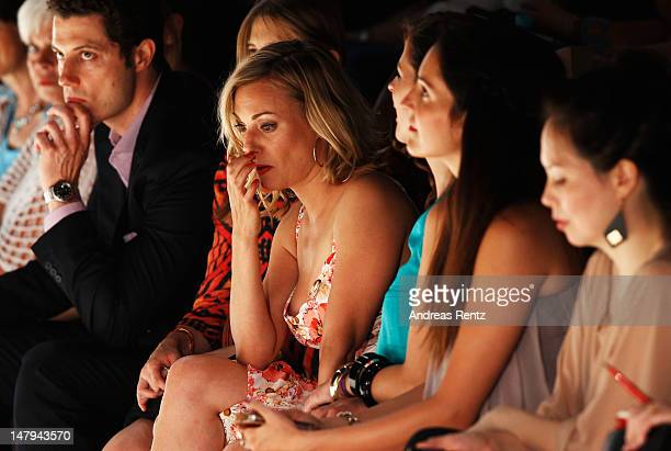 Eva Hassmann sits in the fron row for the Kilian Kerner show during the MercedesBenz Fashion Week Spring/Summer 2013 on July 6 2012 in Berlin Germany
