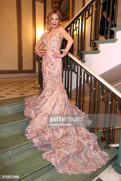 Eva Hassmann wearing a dress by Lana Mueller Couture during the Cinema For Peace Gala 2016 during the 66th Berlinale International Film Festival on...