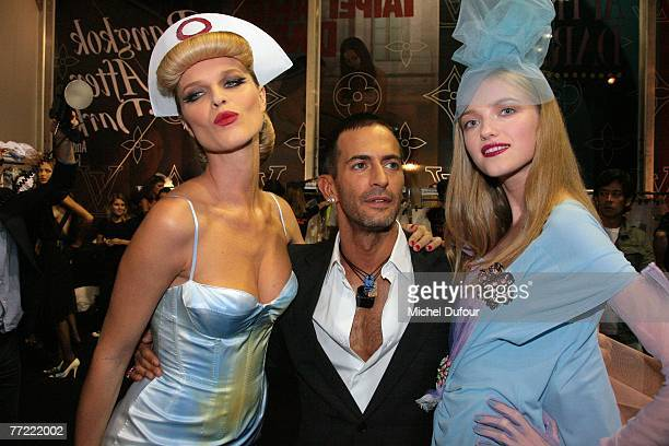 Eva Herzegova, Marc Jacobs and model attends the Louis Vuitton fashion show, during the Spring/Summer 2008 ready-to-wear collection show at Cour...